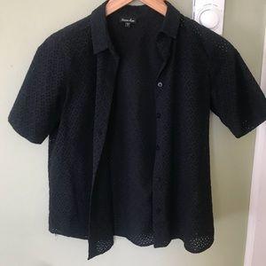 Stevan Alan Eyelet Black Shirt.